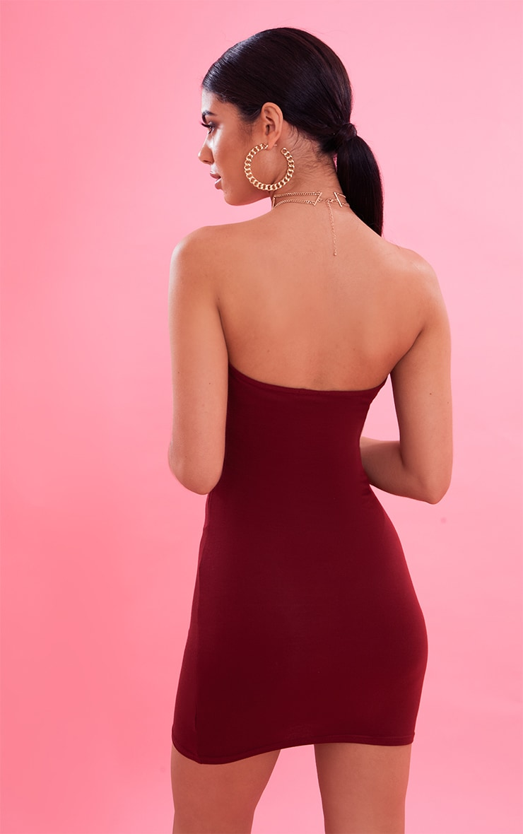 Burgundy Bandeau Bodycon Dress 3