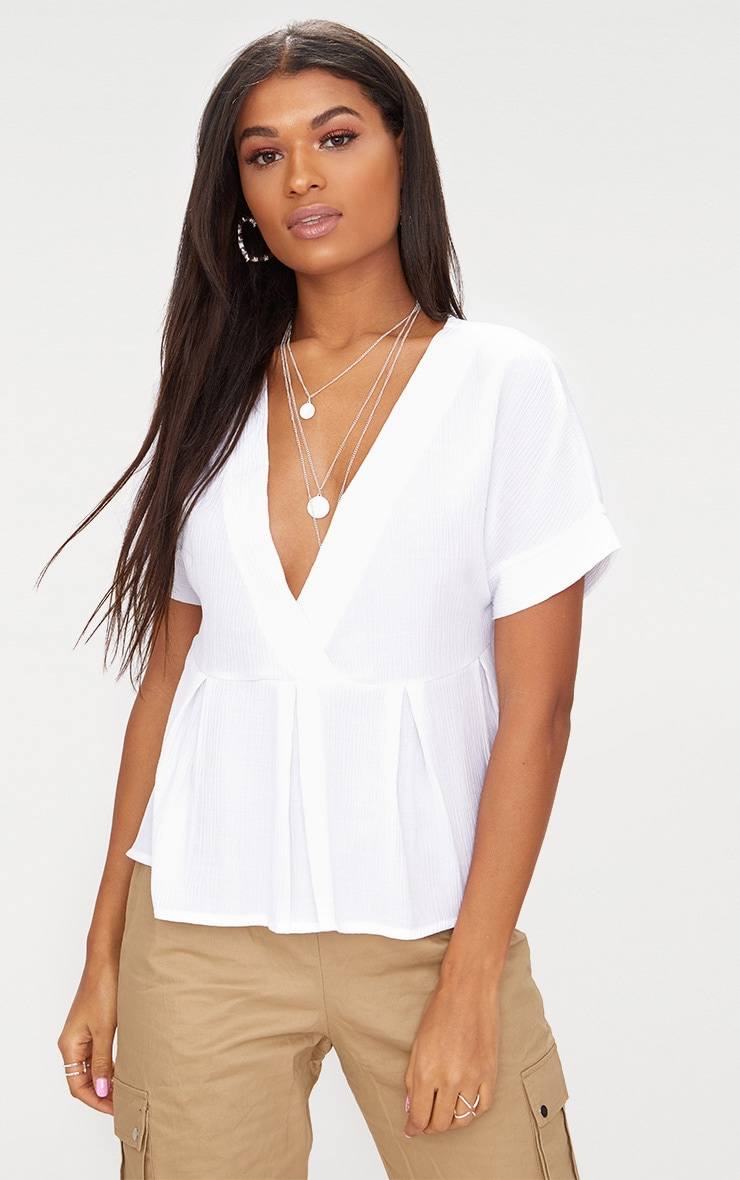 White Cheesecloth Shortsleeve Plunge Blouse 1