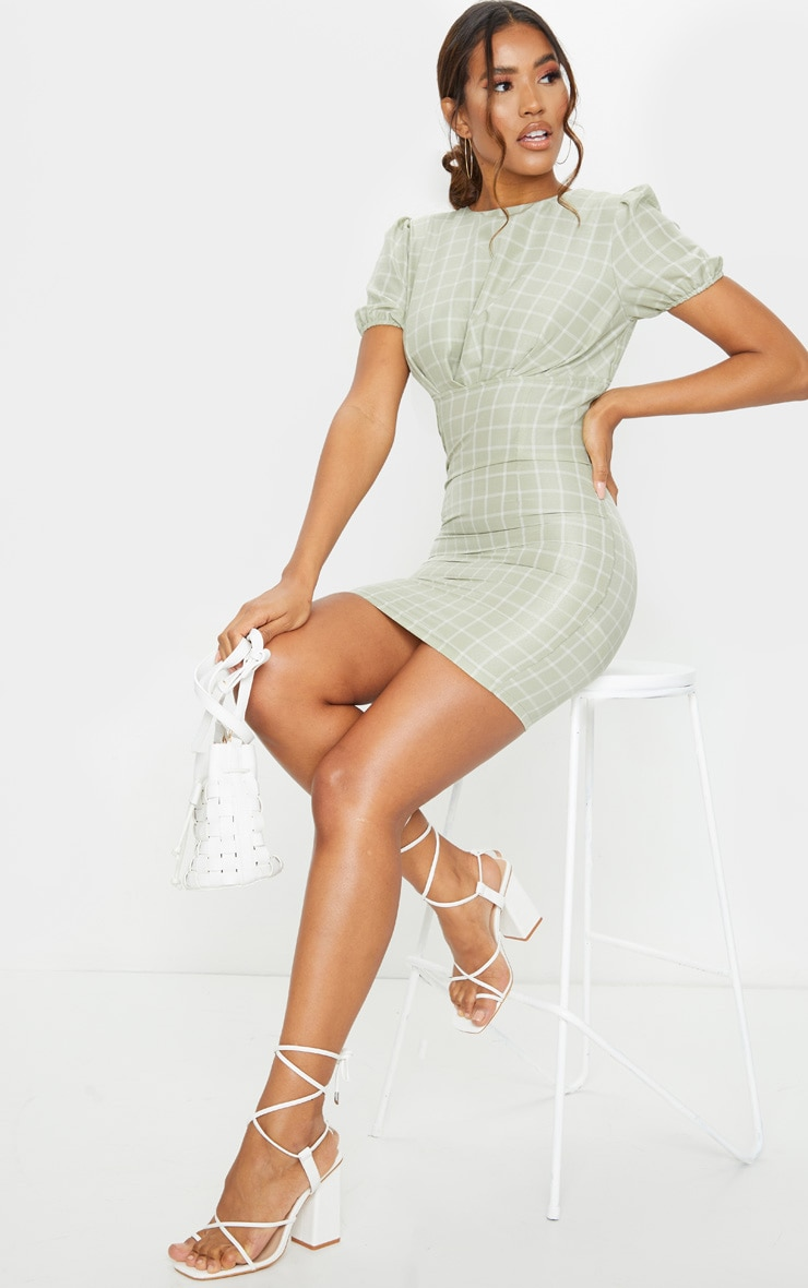 Sage Green Check Print Cut Out Back Detail Bodycon Dress 2