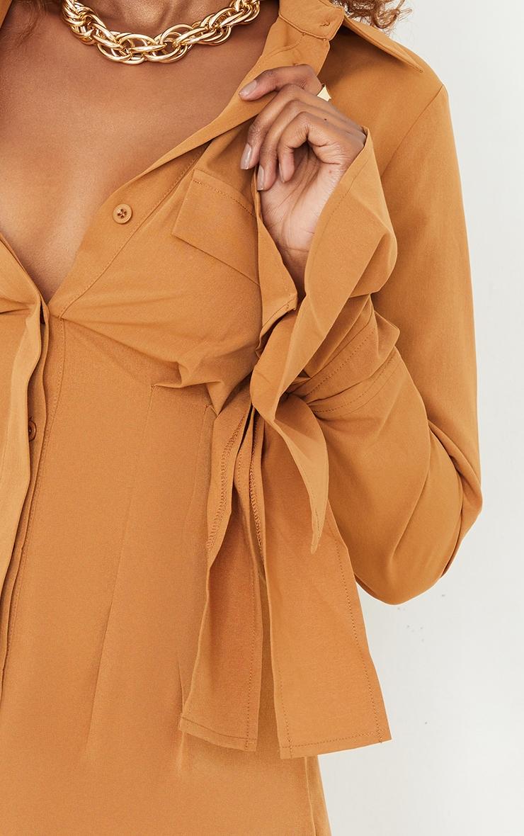 Camel Tie Cuff Detail Pleated Shirt Dress 4