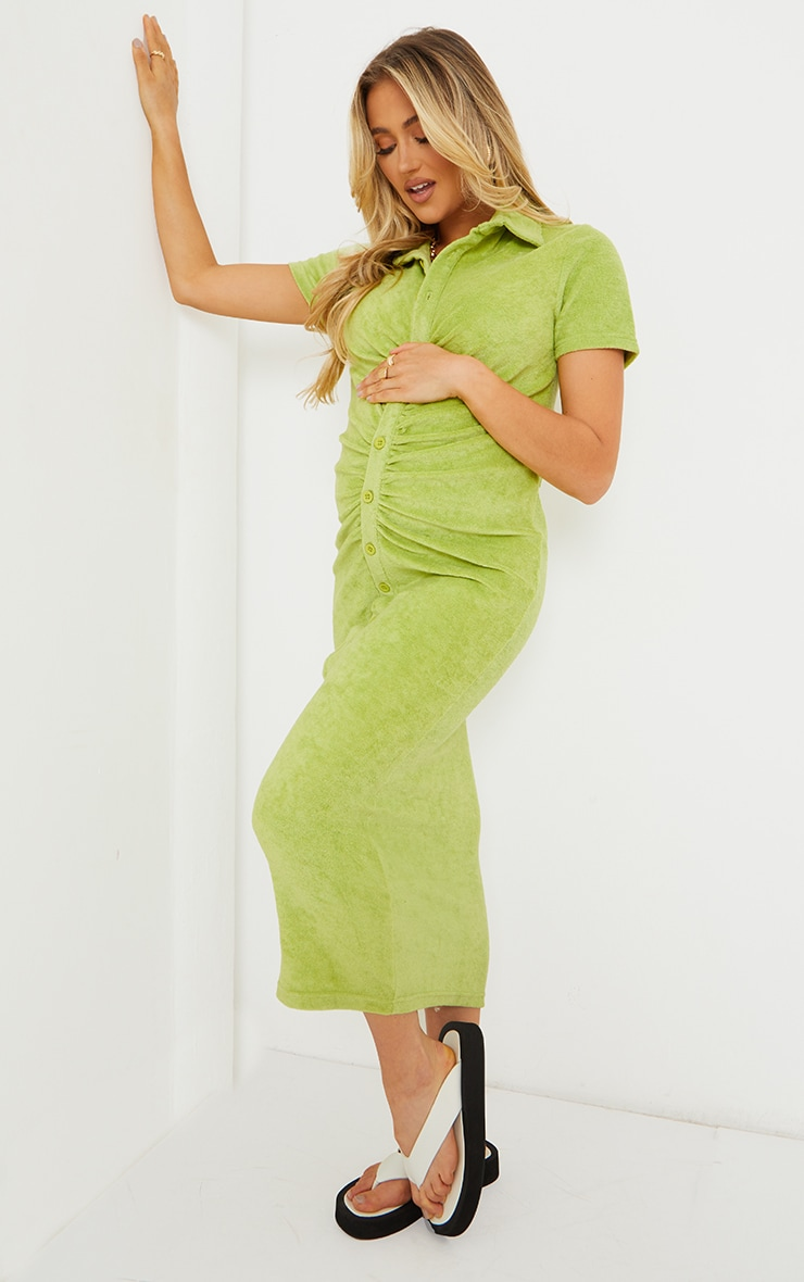 Maternity Chartreuse Towelling Ruched Polo Short Sleeve Midaxi Dress image 3