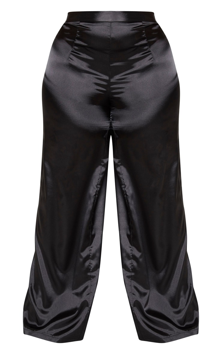 Plus Black Satin High Waist Extreme Wide Leg Trousers 2