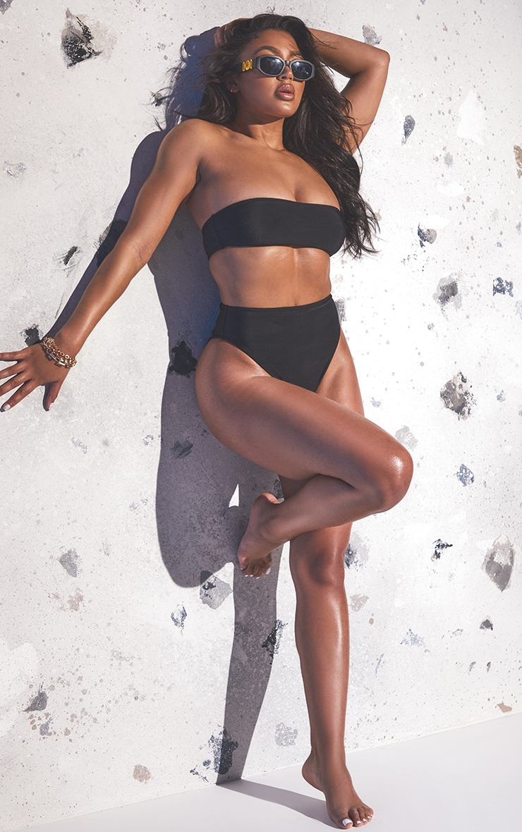 Black Recycled Fabric Bandeau Bikini Set 3