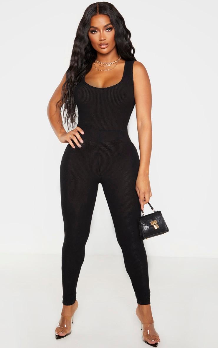 Shape Black Brushed Rib Scoop Neck Jumpsuit 1