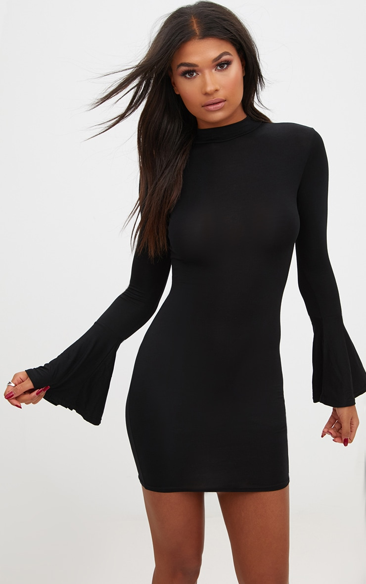 Black Frill Cuff High Neck Bodycon Dress 3