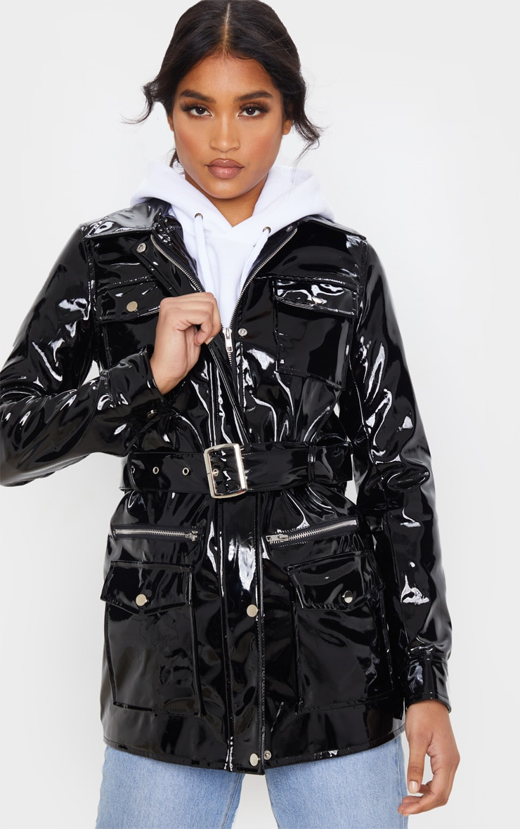Black Vinyl Utility Belted Jacket 4