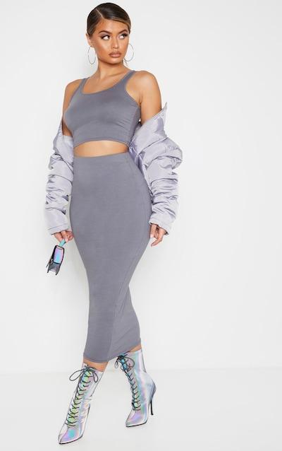 Grey Cotton Midaxi Skirt
