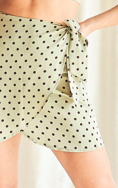 Sage Green Polka Print Wrap Detail Mini Skirt 5