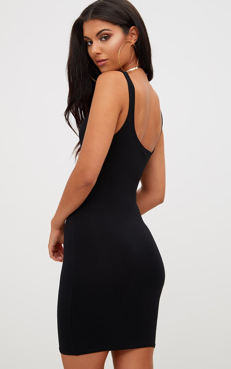 Basic Black Square Neck Bodycon Dress 2