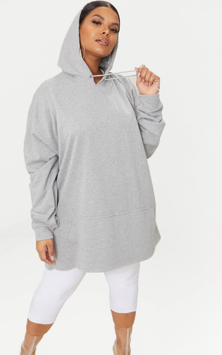 Plus - Hoodie oversized gris chiné 1