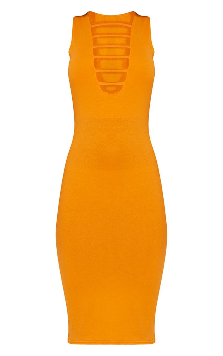 Breea Bright Orange Strap Front Midi Dress 3