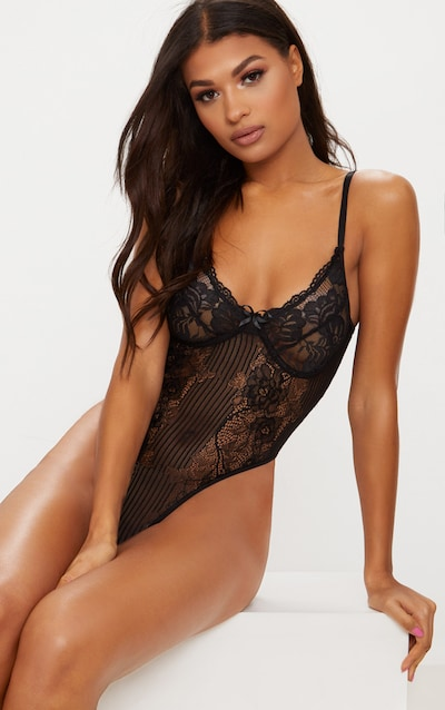 Black Lace Insert High Leg Cupped Body