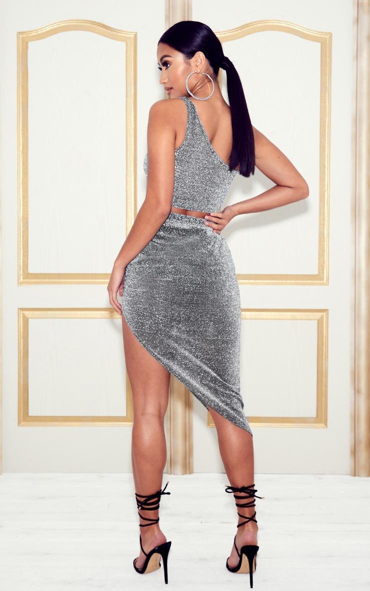 Petite Silver Sheer Glitter Bardot and Ruched Midi Skirt Set  2