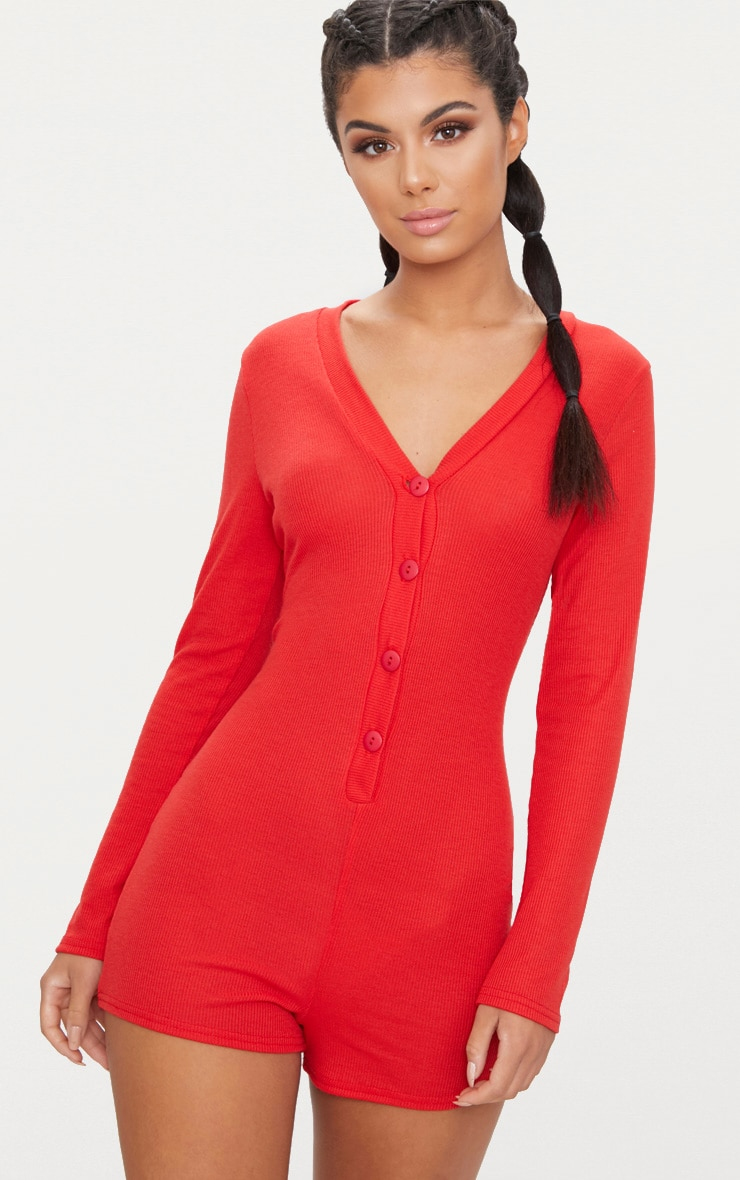 Red Ribbed Button Detail PJ Romper