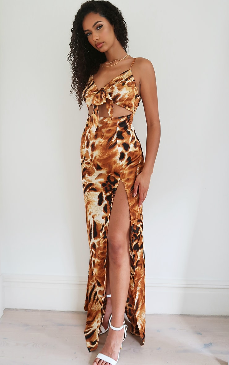 Brown Animal Print Satin Tie front Strappy Maxi Dress 3