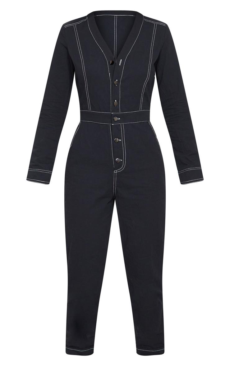 Black Button Detail Contrast Stitch Denim Boilersuit 5