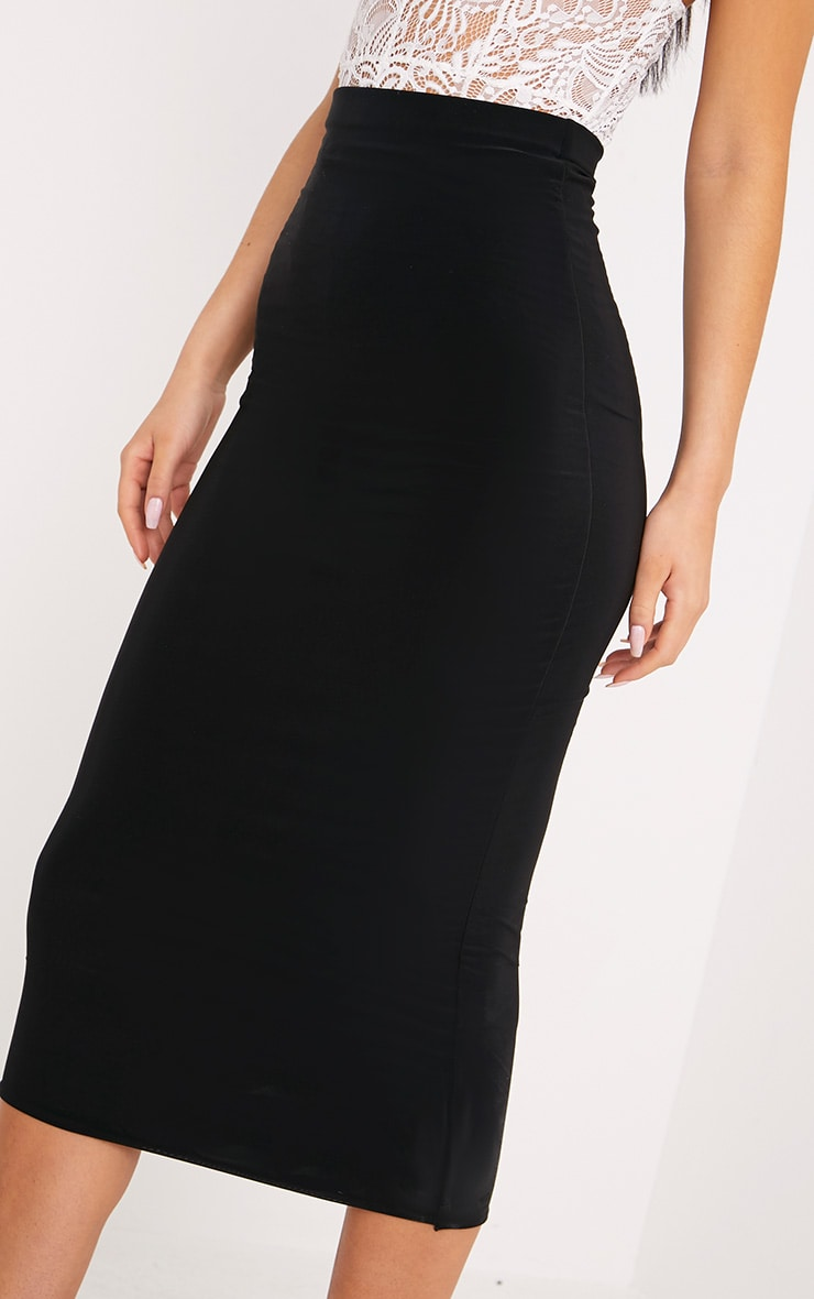 Steffany Black Slinky Long Line Midi Skirt 5