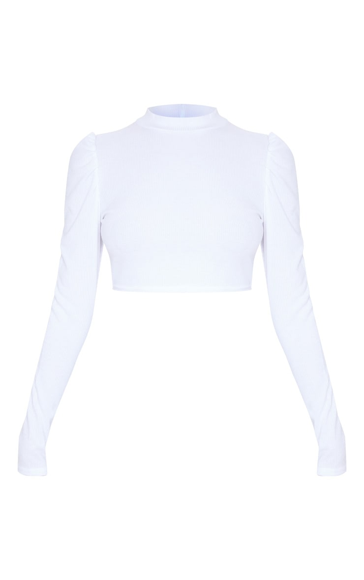 White Rib High Neck Puff Sleeve Top 3