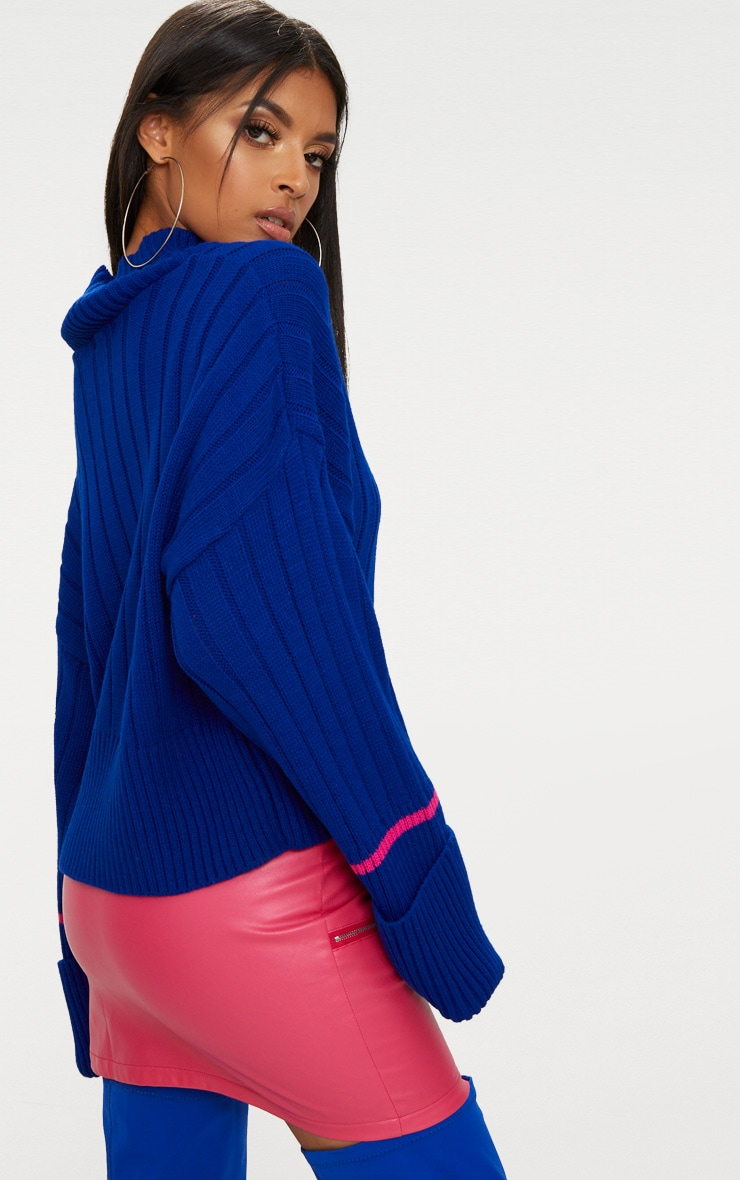 Blue Turnback Stripe Sleeve Jumper 2