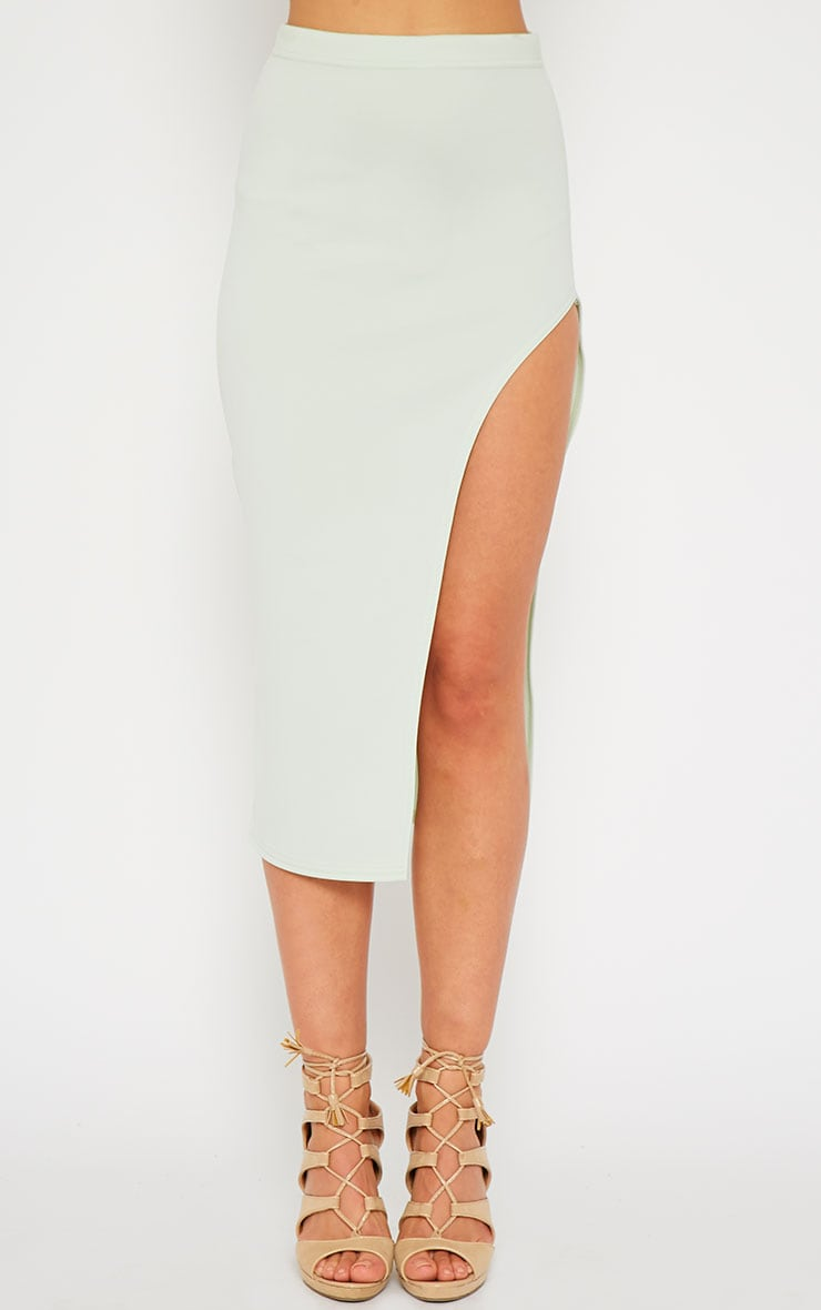 Savina Mint Side Split Midi Skirt 2