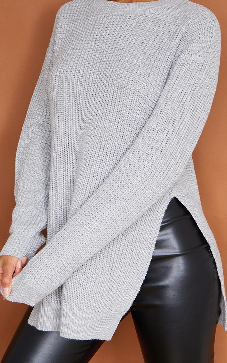 Grey Round Neck Side Split Sweater 4