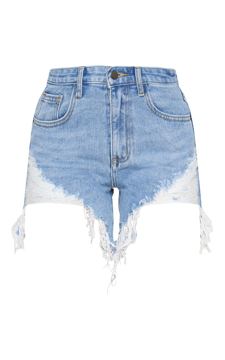 Light Wash Distressed Denim Shorts 3