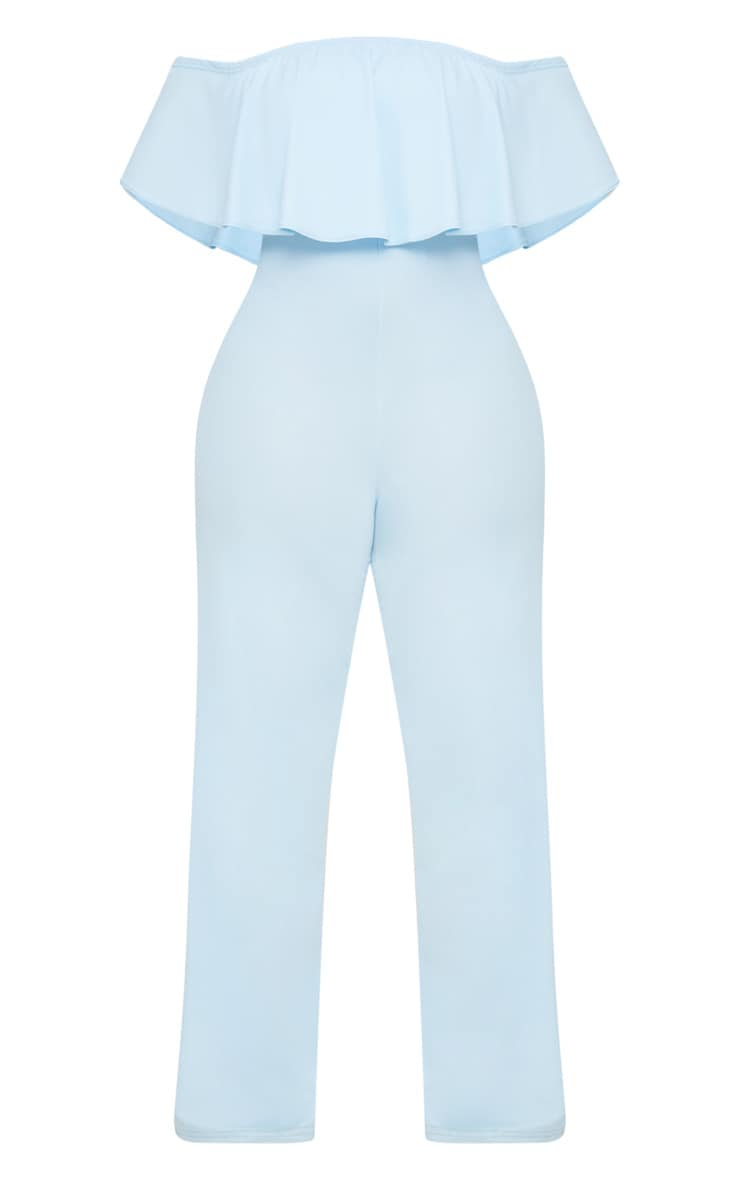 Plus Dusty Blue Bardot Frill Jumpsuit 3