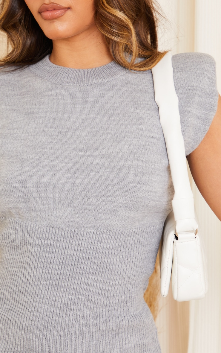 Grey Shoulder Pad Knitted Bust Detail Sleeveless Dress 4