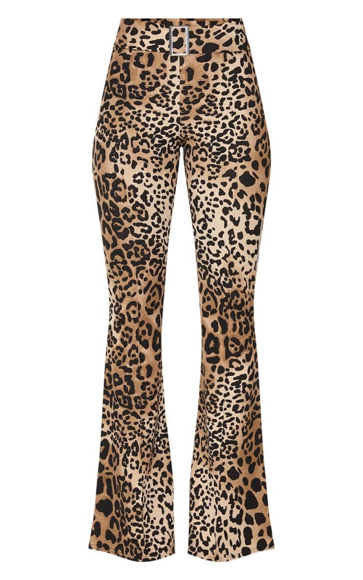 Leopard Print Scuba Pintuck Buckle Flared Pants 5