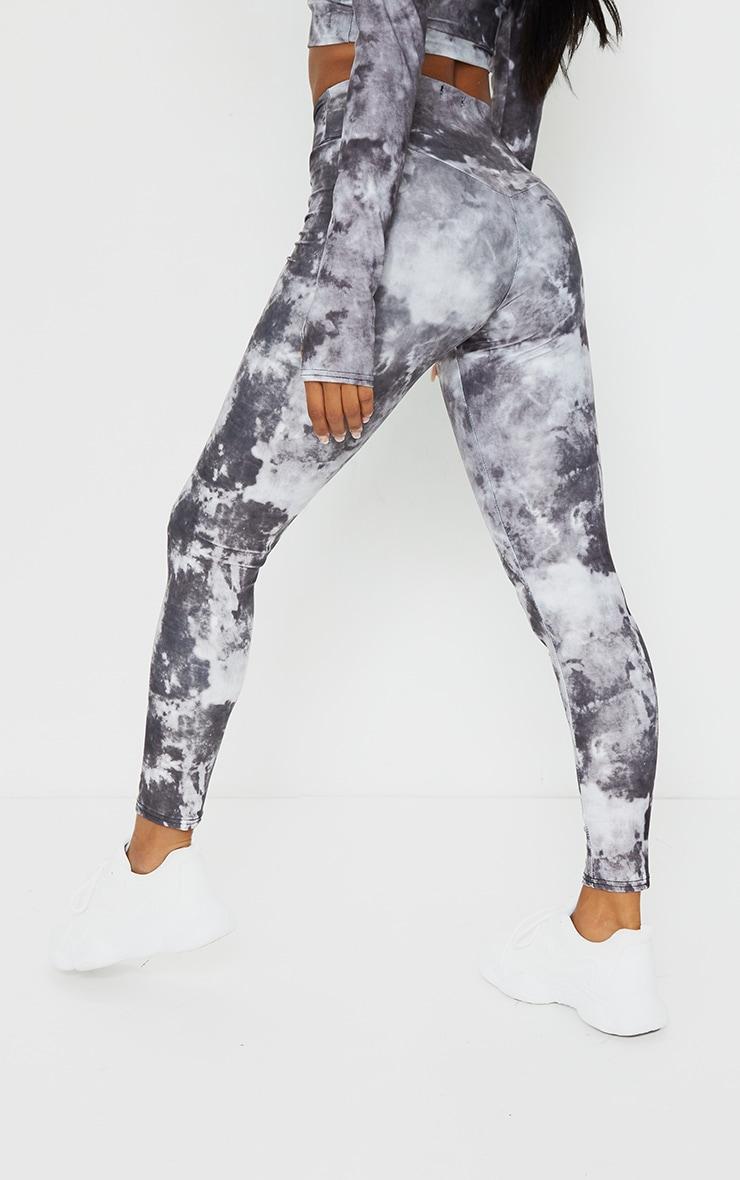 Grey Tie Dye High Waisted Sport Leggings 3