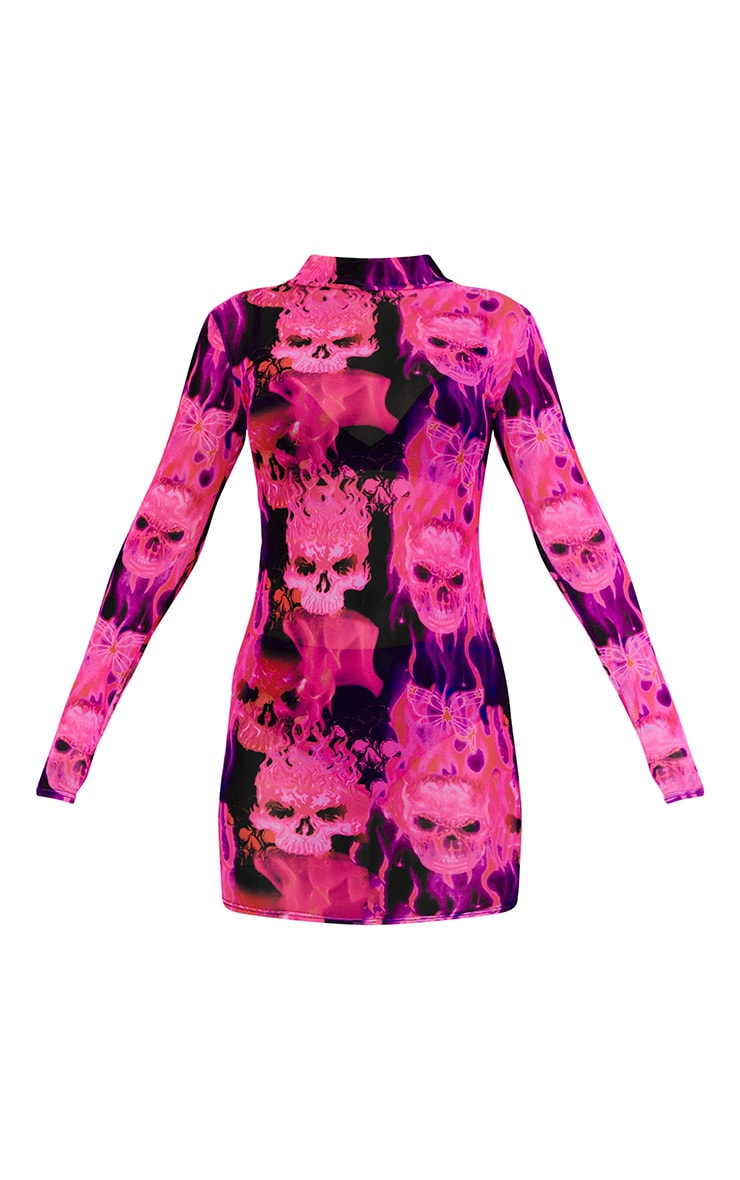 Pink Skeleton Butterfly Print Mesh High Neck Long Sleeve Bodycon Dress 4