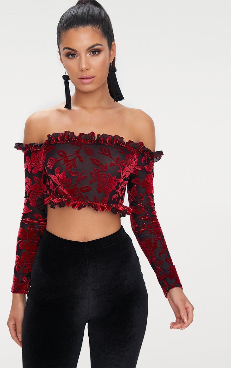 Red Velvet Flock Bardot Longsleeve Crop Top 1