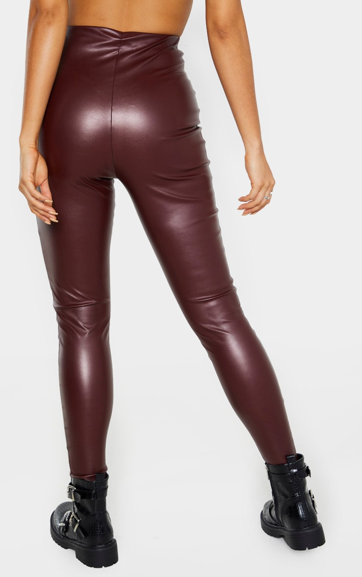 Tall Burgundy Faux Leather High Waisted Legging 5