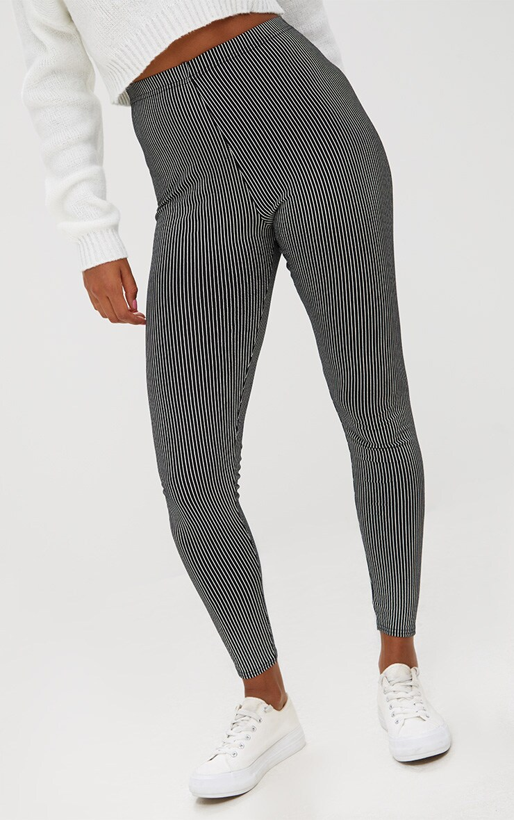 Black Pinstripe Leggings 5