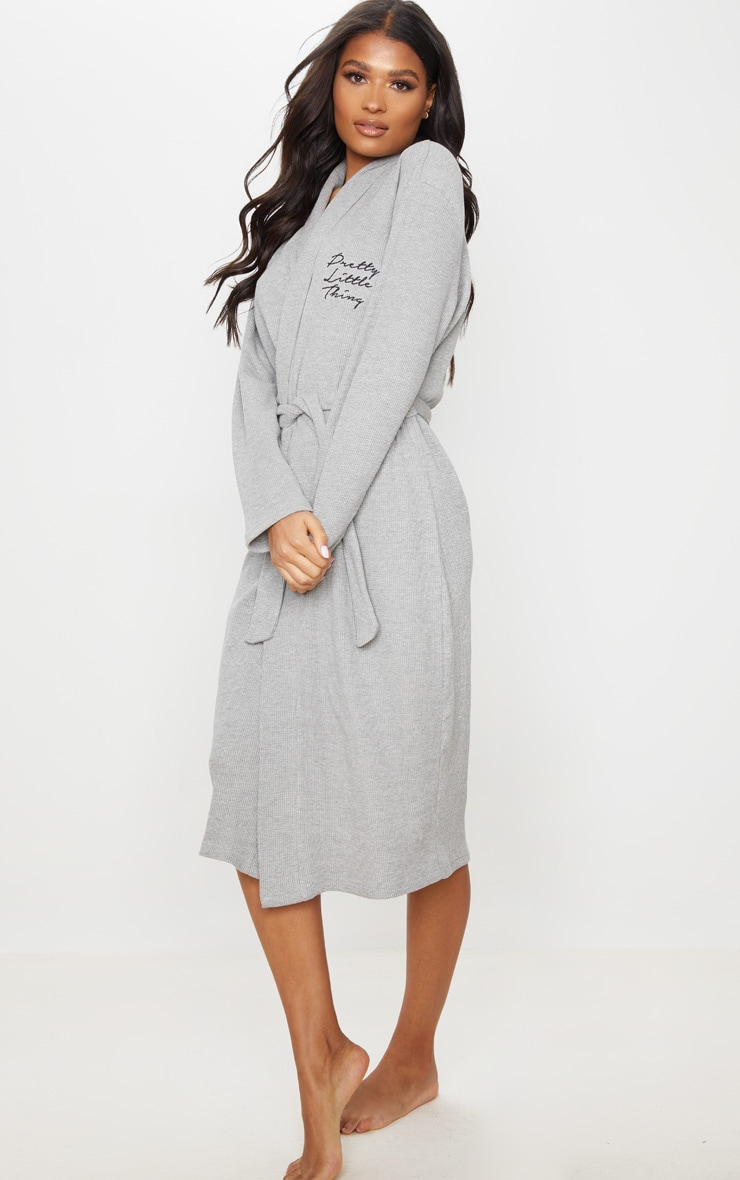 PRETTYLITTLETHING Grey Embroidered Long Waffle Dressing Gown 3