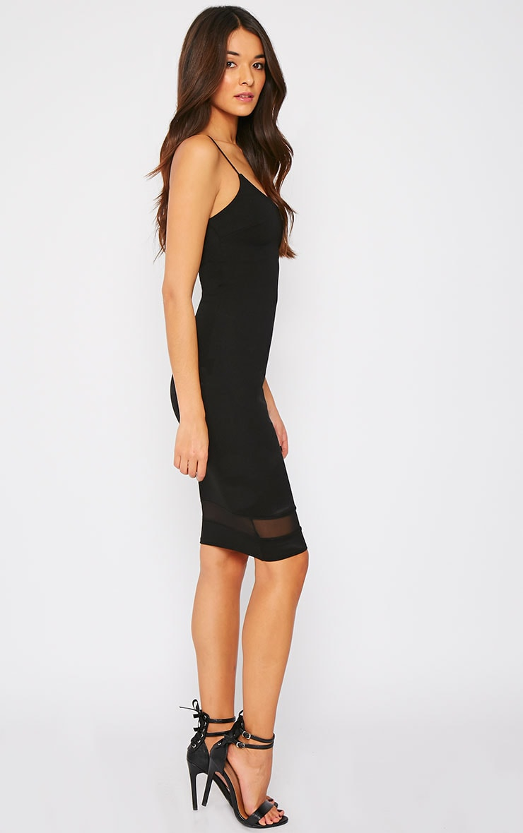 Ryleigh Black Mesh Insert Midi Dress 3