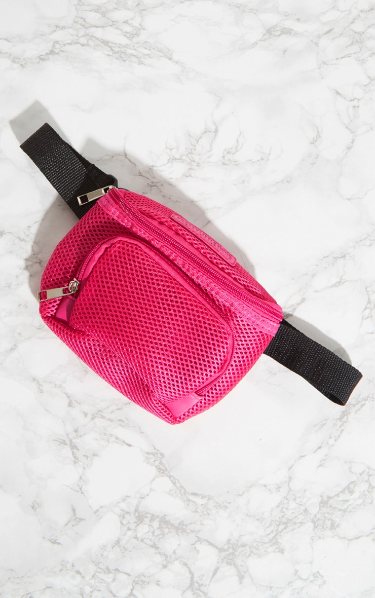 PRETTYLITTLETHING Pink Mesh Bum Bag 4