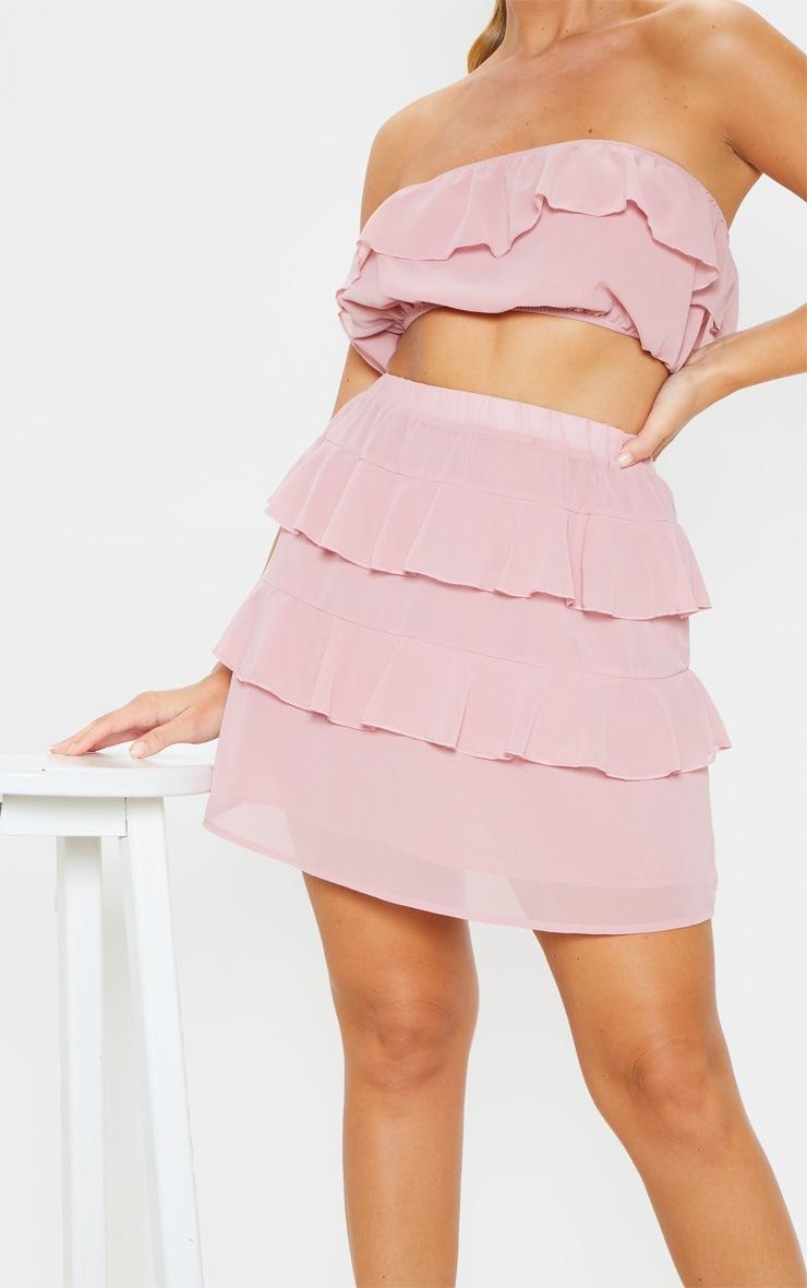 Dusty Rose Ruffle Mini Skirt 6