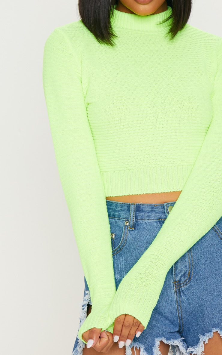 Neon Lime Ribbed Cropped Knitted Jumper  5