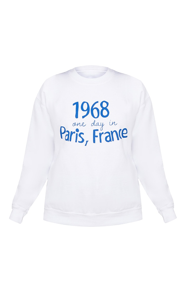 Petite White Paris Slogan Sweater 3