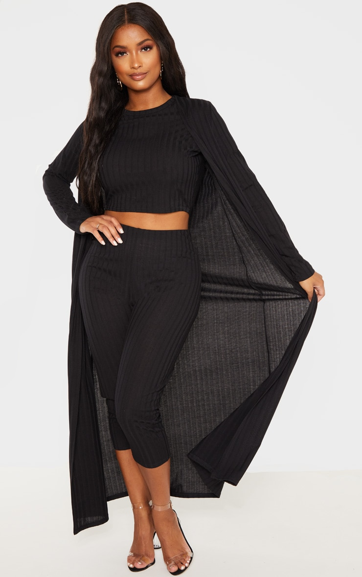 Shape Black Wide Rib Maxi Cardigan 4