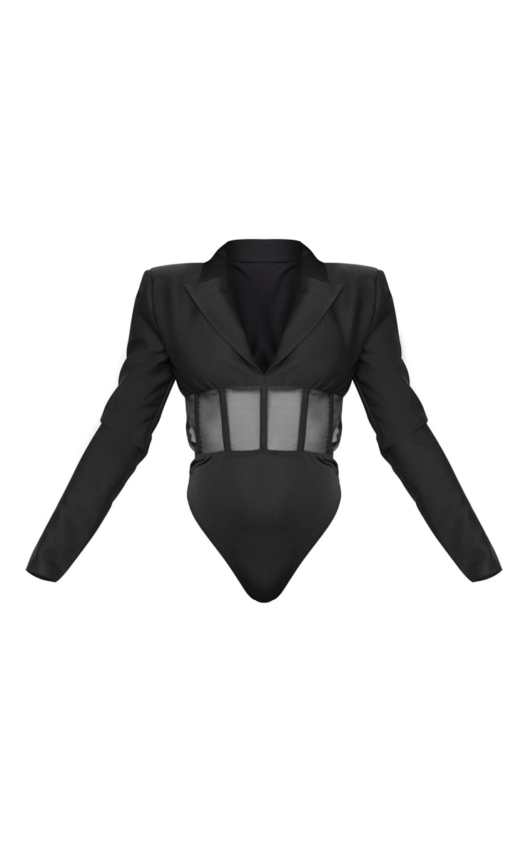 Black Woven Mesh Panelled Insert Long Sleeve Bodysuit 5