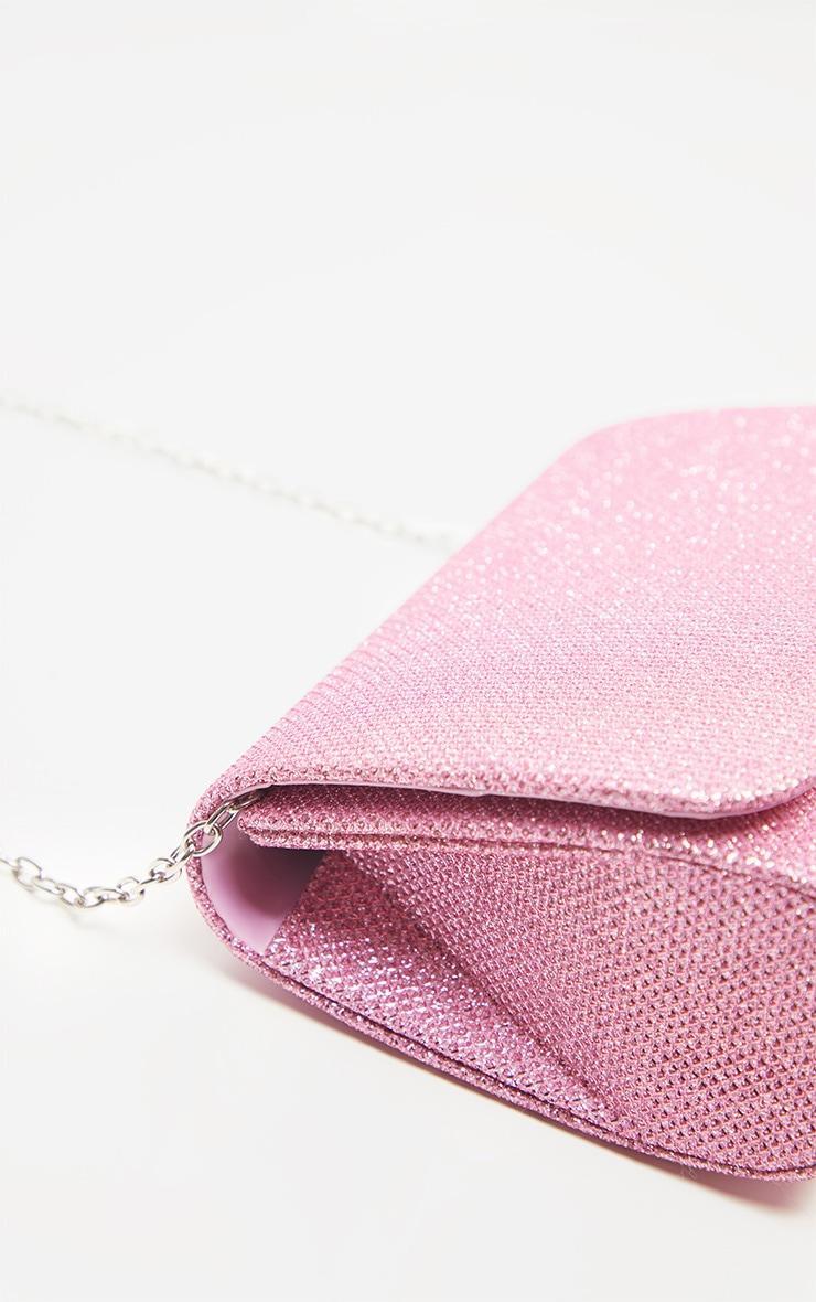 Pink Fabric Glitter Small Clutch Bag 3