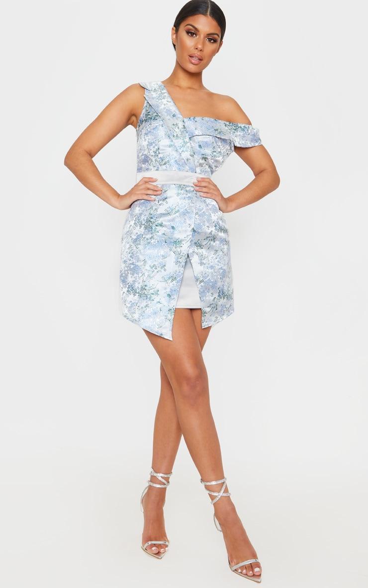 Silver Asymmetric Bardot Jacquard Blazer Dress 1