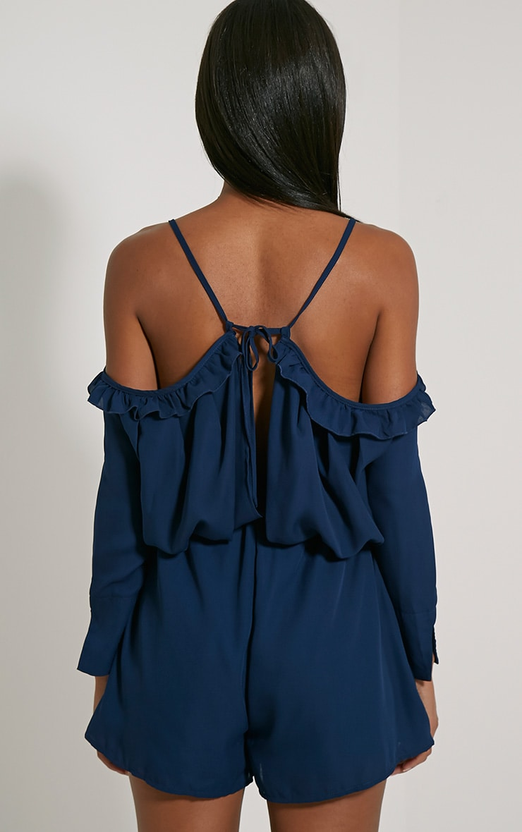 Amethyst Navy Chiffon Tie Back Playsuit 2