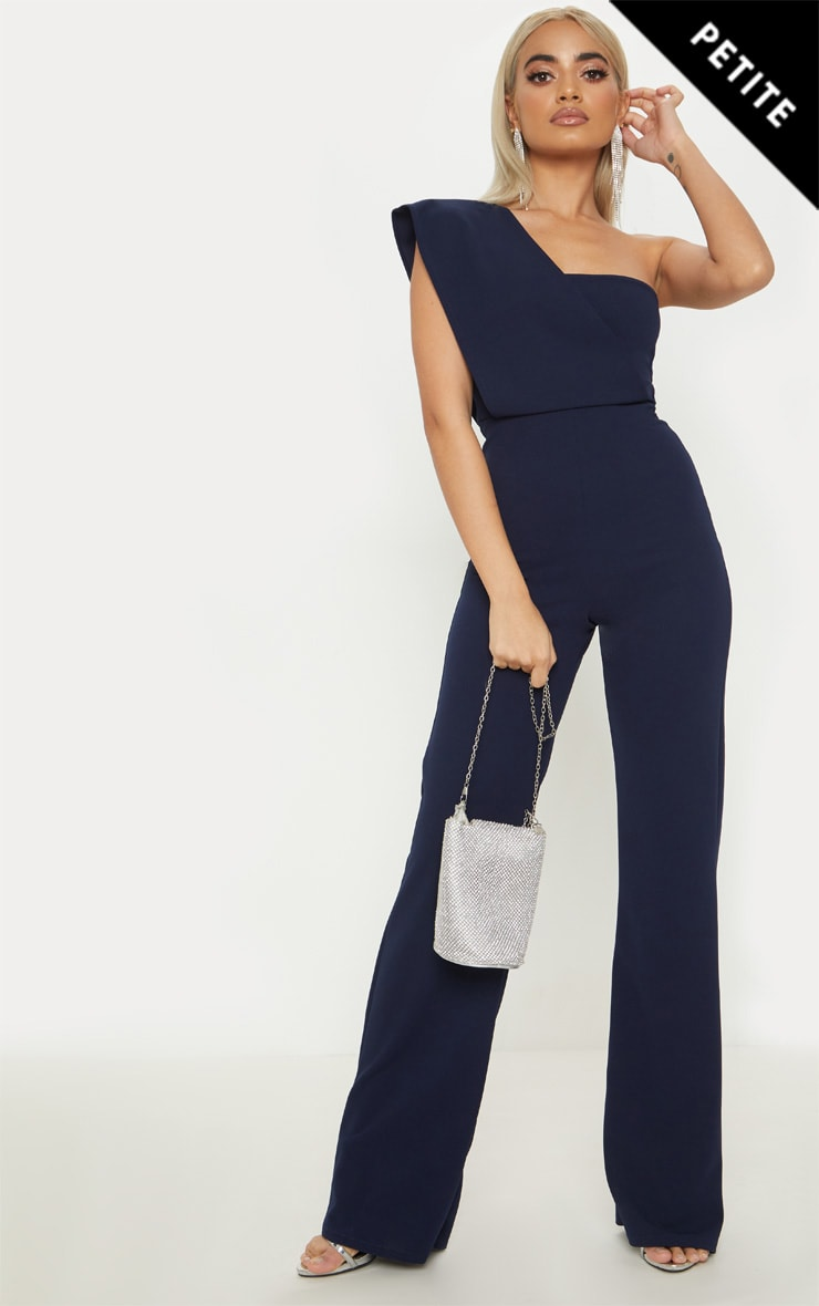 409dfcd49456 Petite Navy Drape One Shoulder Jumpsuit image 1