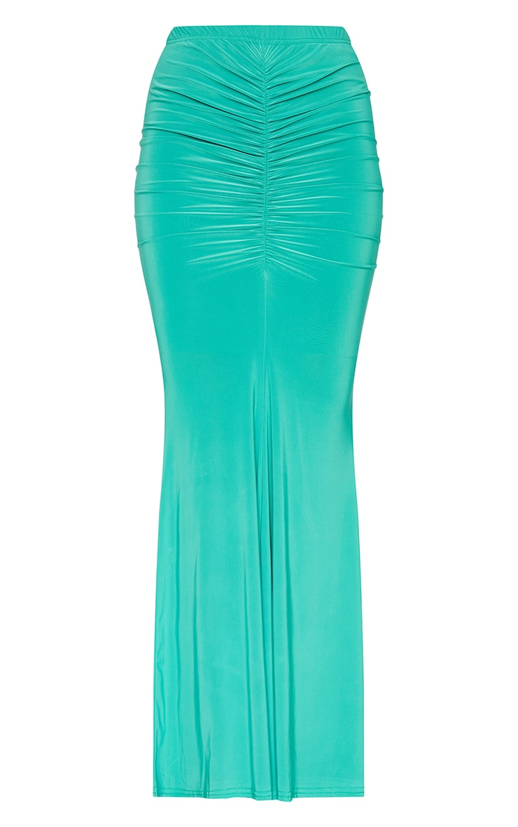 Bright Green Slinky Ruched FrontMaxi Skirt 5