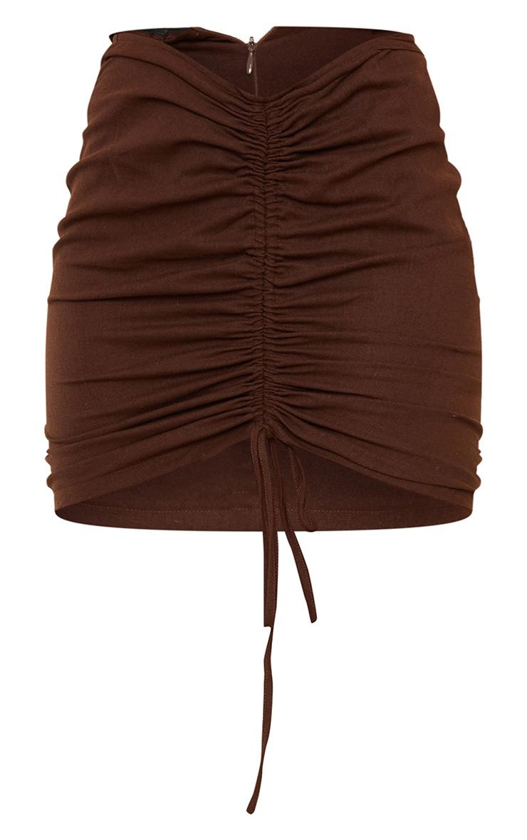 Mini-jupe marron chocolat froncée 7