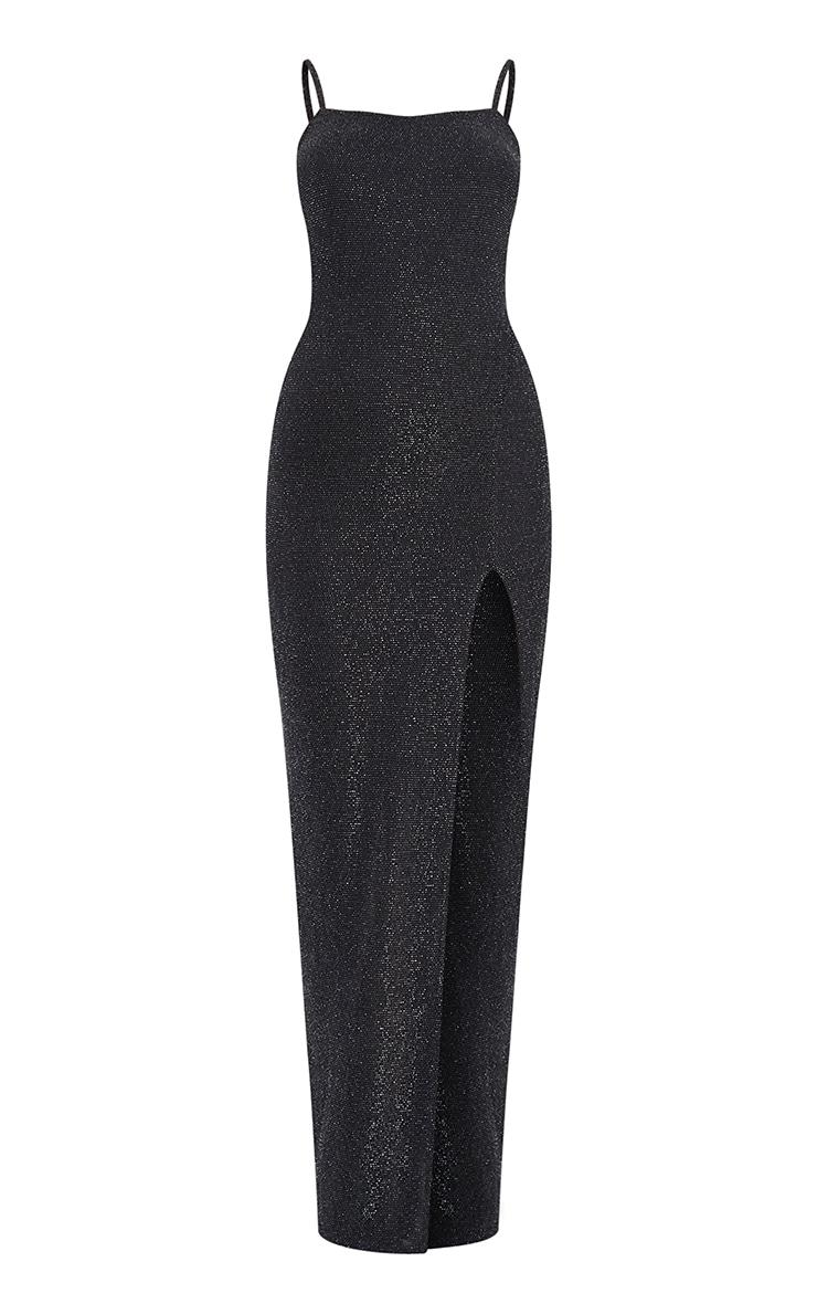 Black Textured Glitter Split Maxi Dress 5