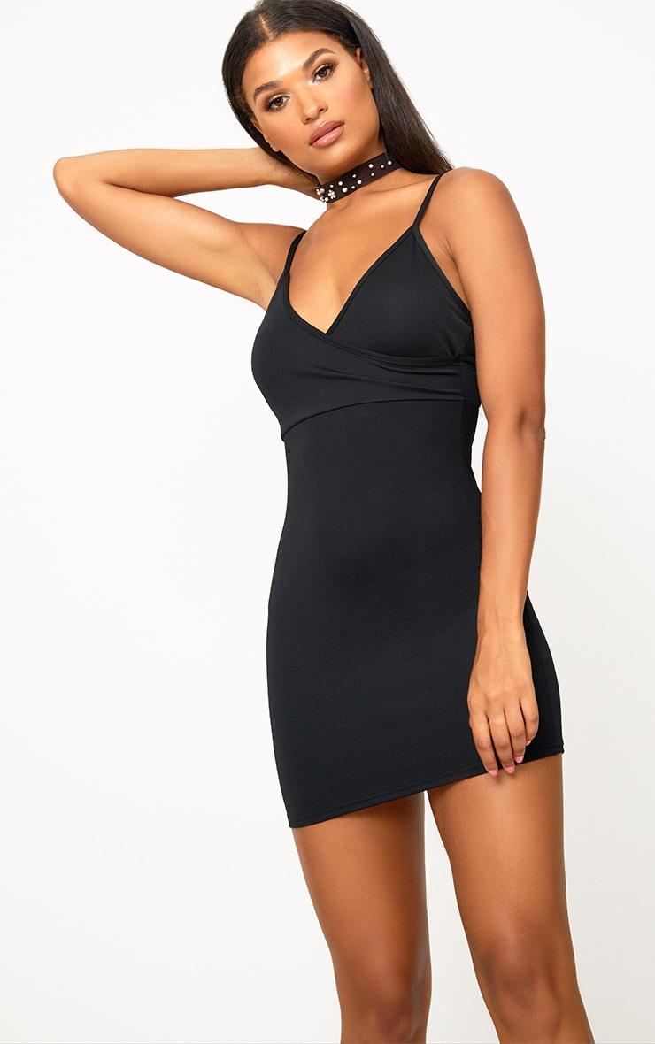 Black Strappy Back Detail Bodycon Dress 2